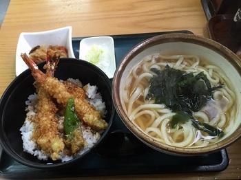 海老天丼とわかめうどん^^.JPG