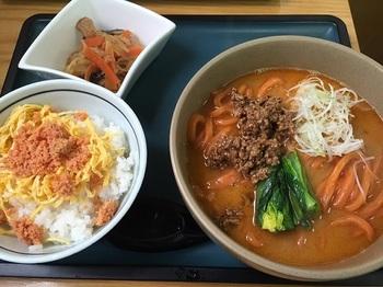 (赤)唐がらし麺の担々うどんとミニ鮭ごはん.JPG